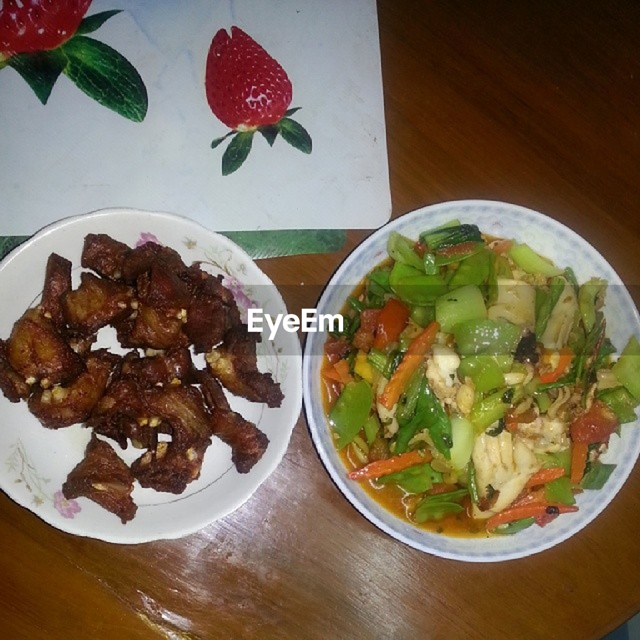 food and drink, food, freshness, indoors, plate, ready-to-eat, healthy eating, still life, table, serving size, salad, meal, high angle view, indulgence, served, bowl, directly above, vegetable, meat, close-up