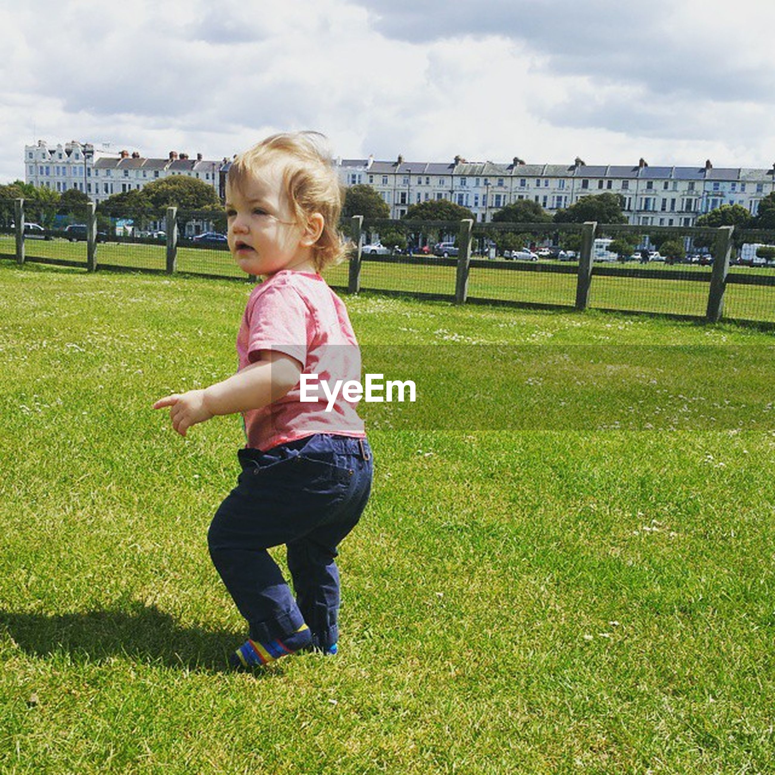 childhood, grass, elementary age, girls, full length, person, leisure activity, lifestyles, boys, grassy, casual clothing, innocence, playing, playful, cute, park - man made space, field, lawn