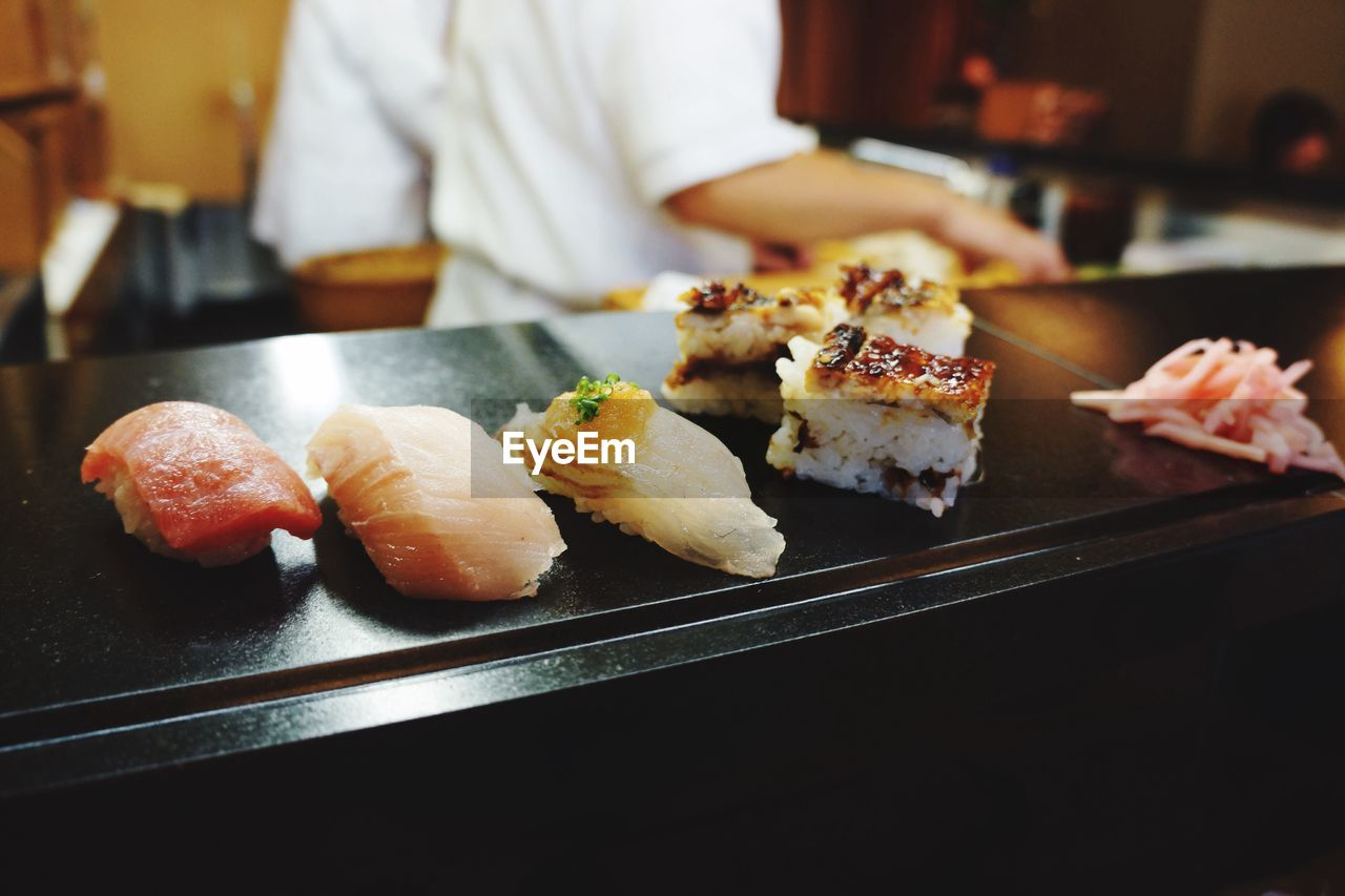 Close-Up Of Sushi On Marble