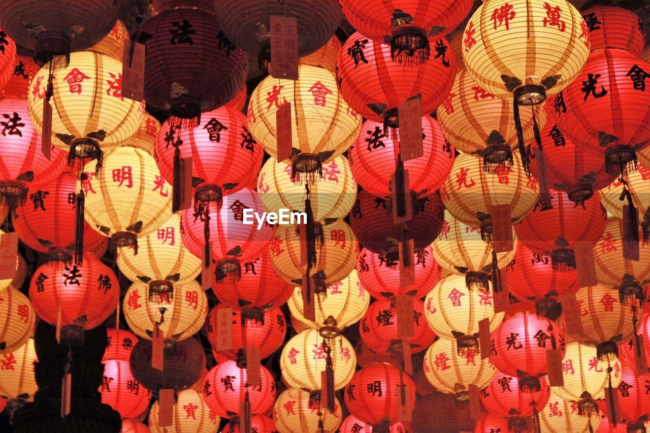 hanging, lantern, chinese lantern, lighting equipment, decoration, large group of objects, chinese lantern festival, chinese new year, red, abundance, full frame, celebration, no people, traditional festival, festival, backgrounds, holiday, outdoors, paper lantern