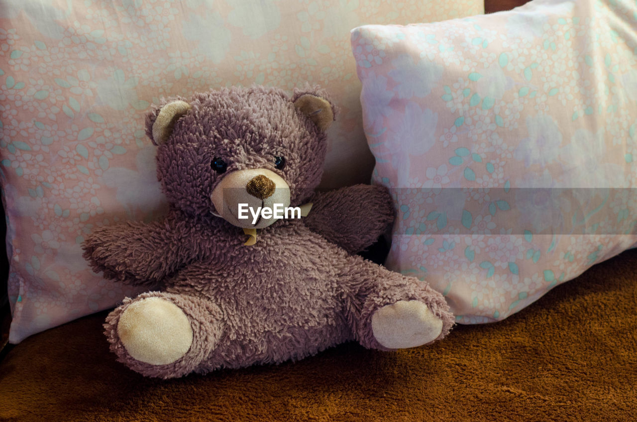 stuffed toy, toy, teddy bear, indoors, animal representation, representation, still life, furniture, childhood, softness, close-up, home interior, bed, sofa, pillow, toy animal, stuffed, day, textile