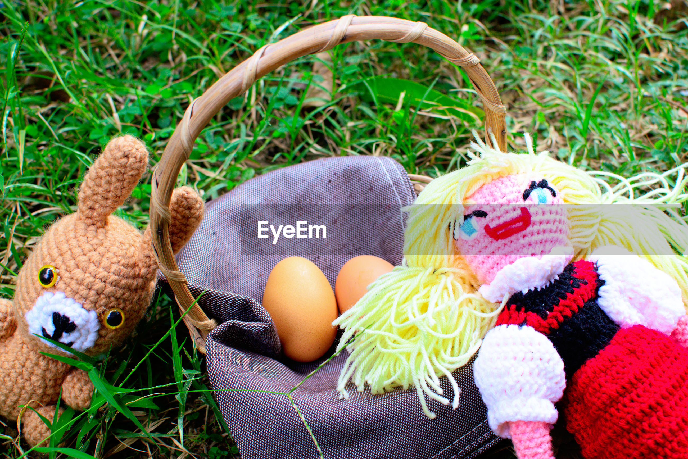 Close-up of multi colored stuffed toys with eggs on grass