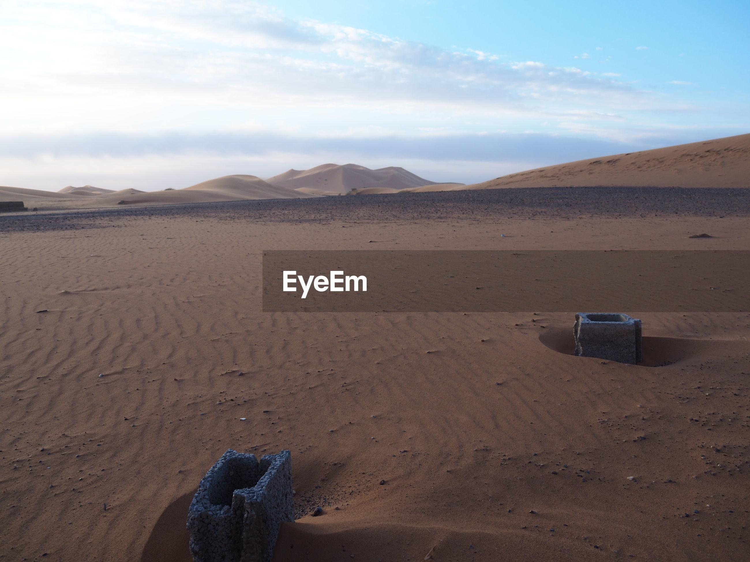 SCENIC VIEW OF SAND DUNE ON DESERT AGAINST SKY