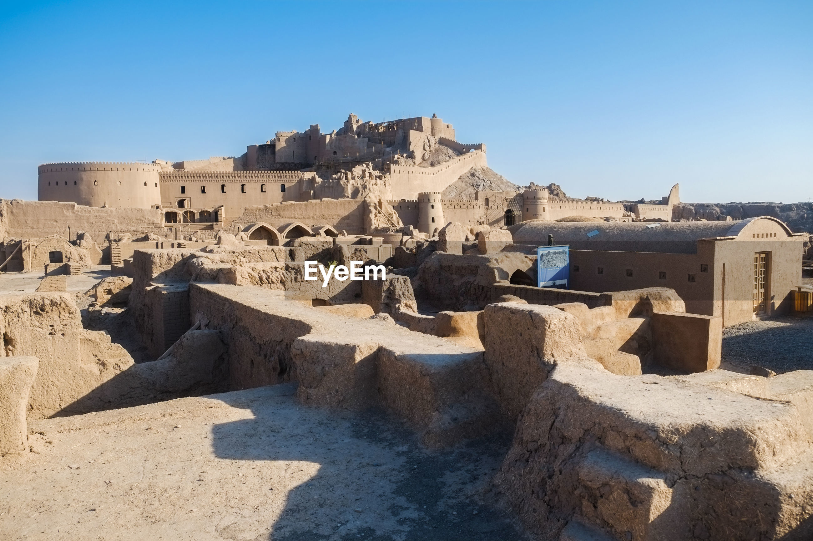 Landscape view of arg e bam,ruin and ancient persian historical site.famous landmark in kerman,iran.