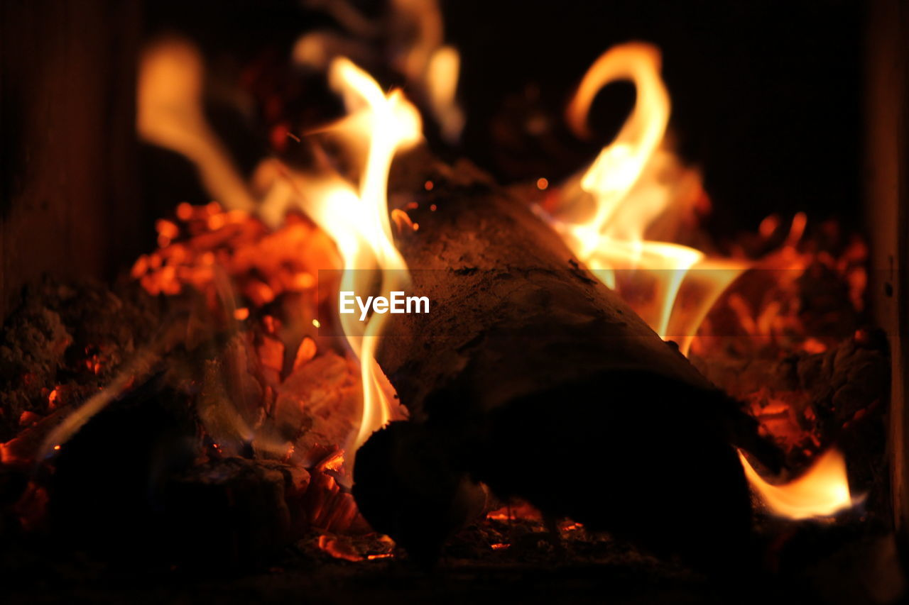 fire - natural phenomenon, flame, burning, heat - temperature, night, glowing, orange color, no people, close-up, bonfire, indoors, fire pit