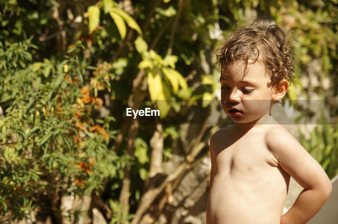 Naked Boy Looking Away While Standing At Backyard