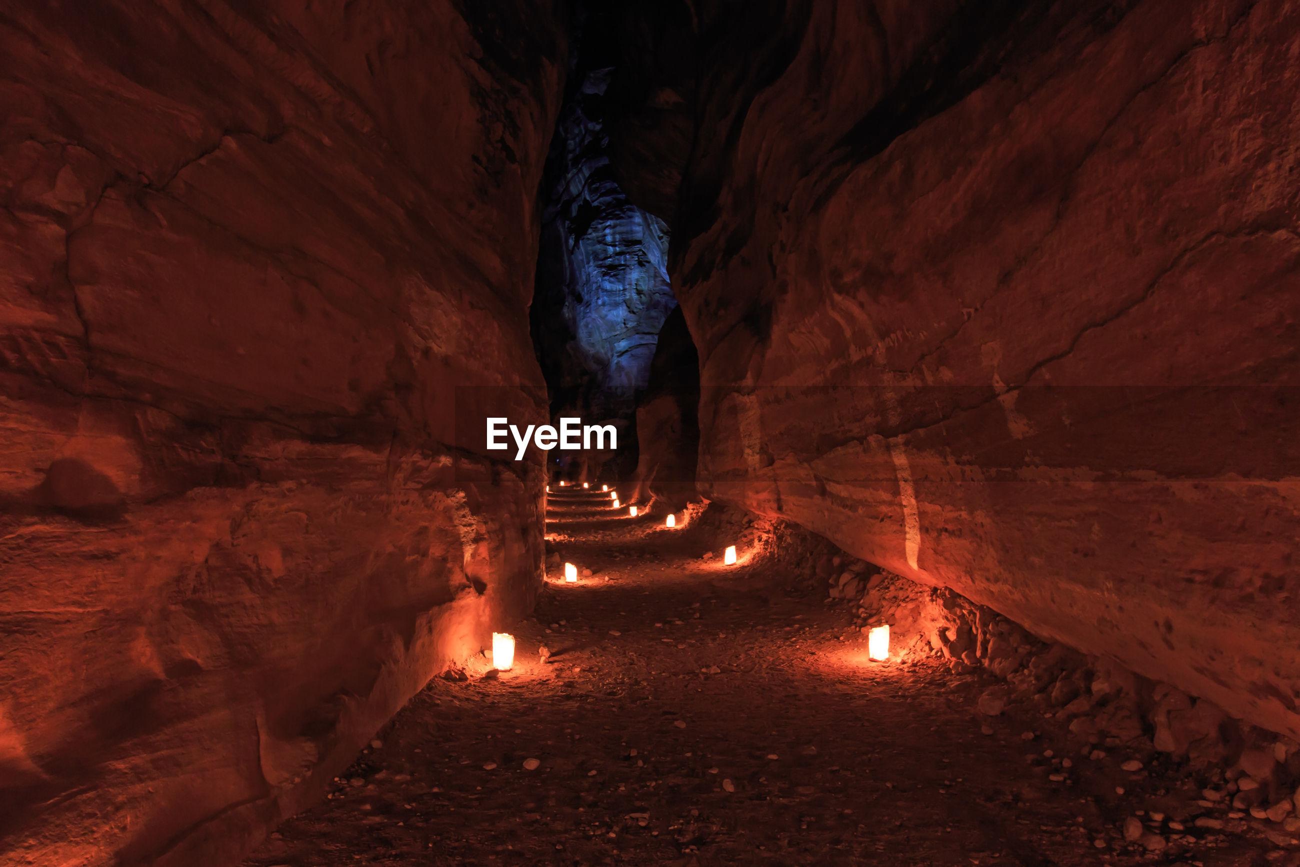Illuminated lights in cave