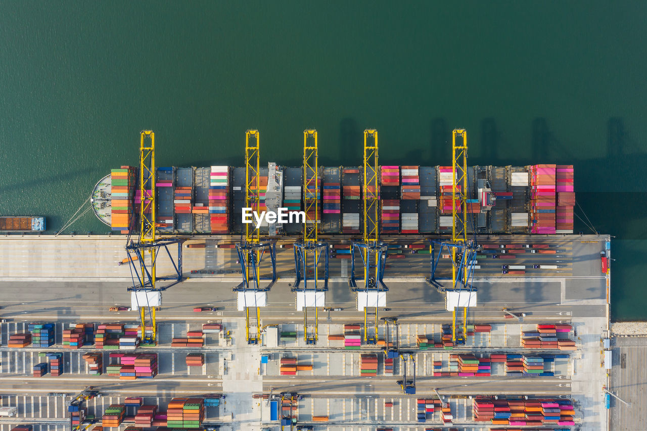 Aerial view of freight transportation at commercial dock