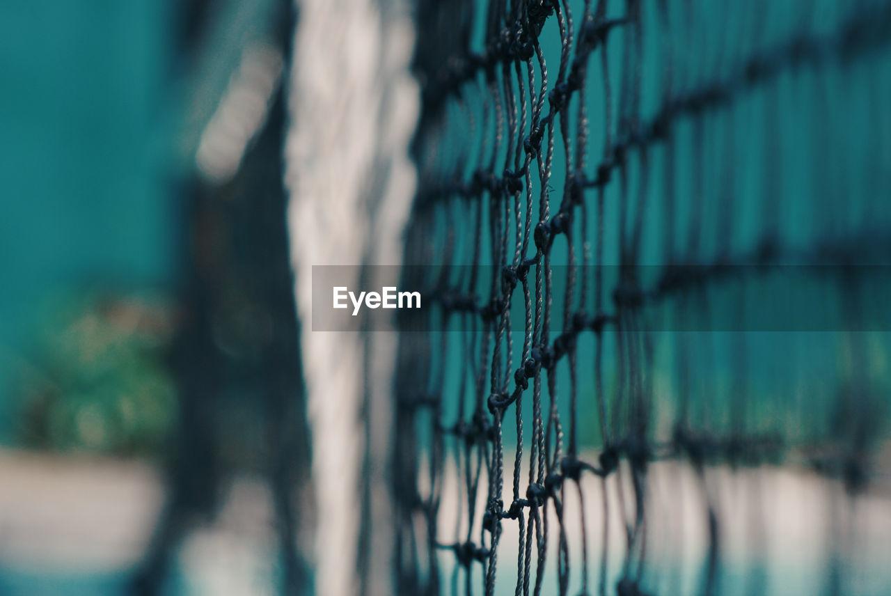 Close-up of tennis net