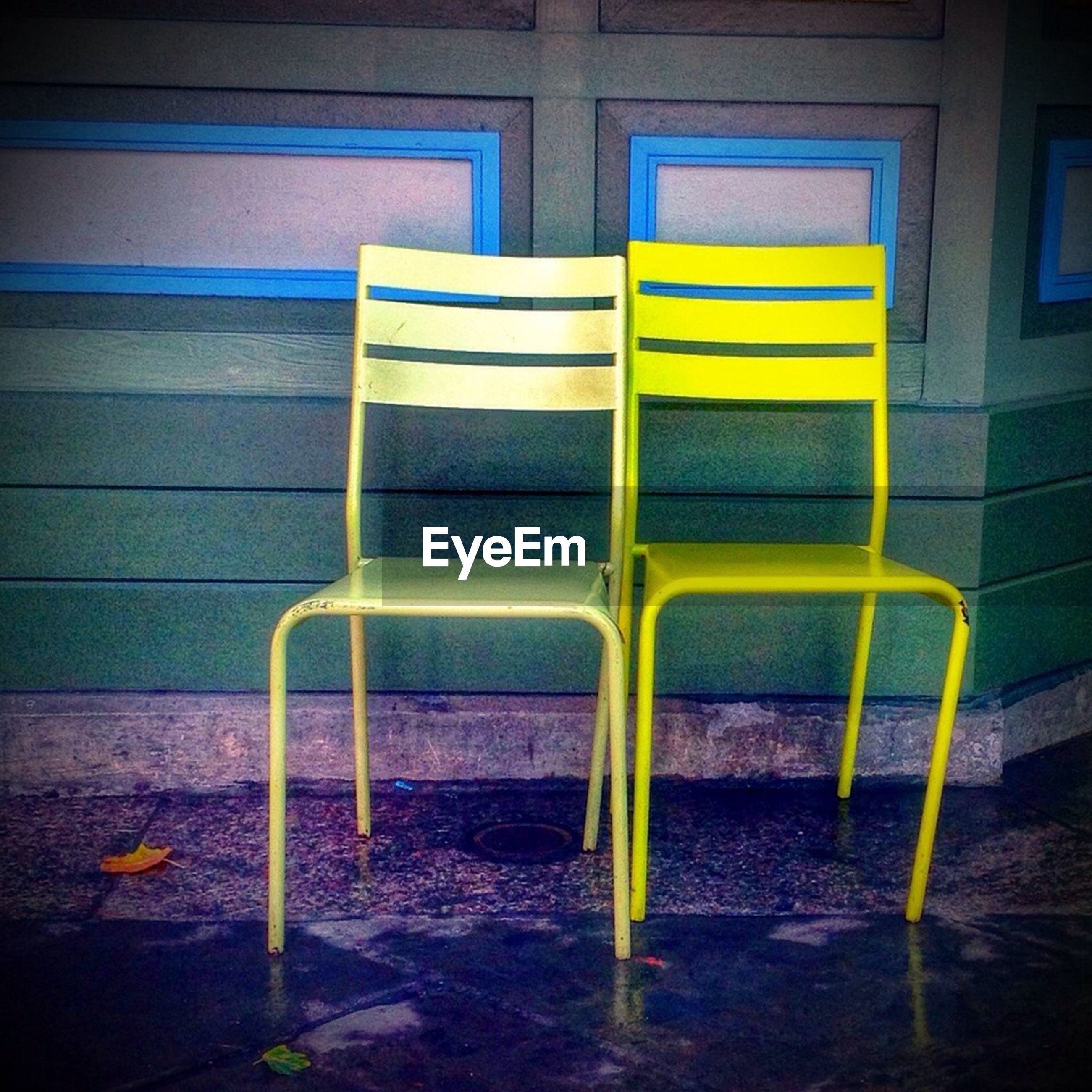 View of two yellow chairs