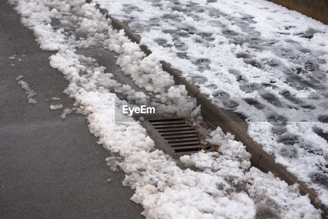 HIGH ANGLE VIEW OF SNOW COVERED ROAD AMIDST FROZEN WATER