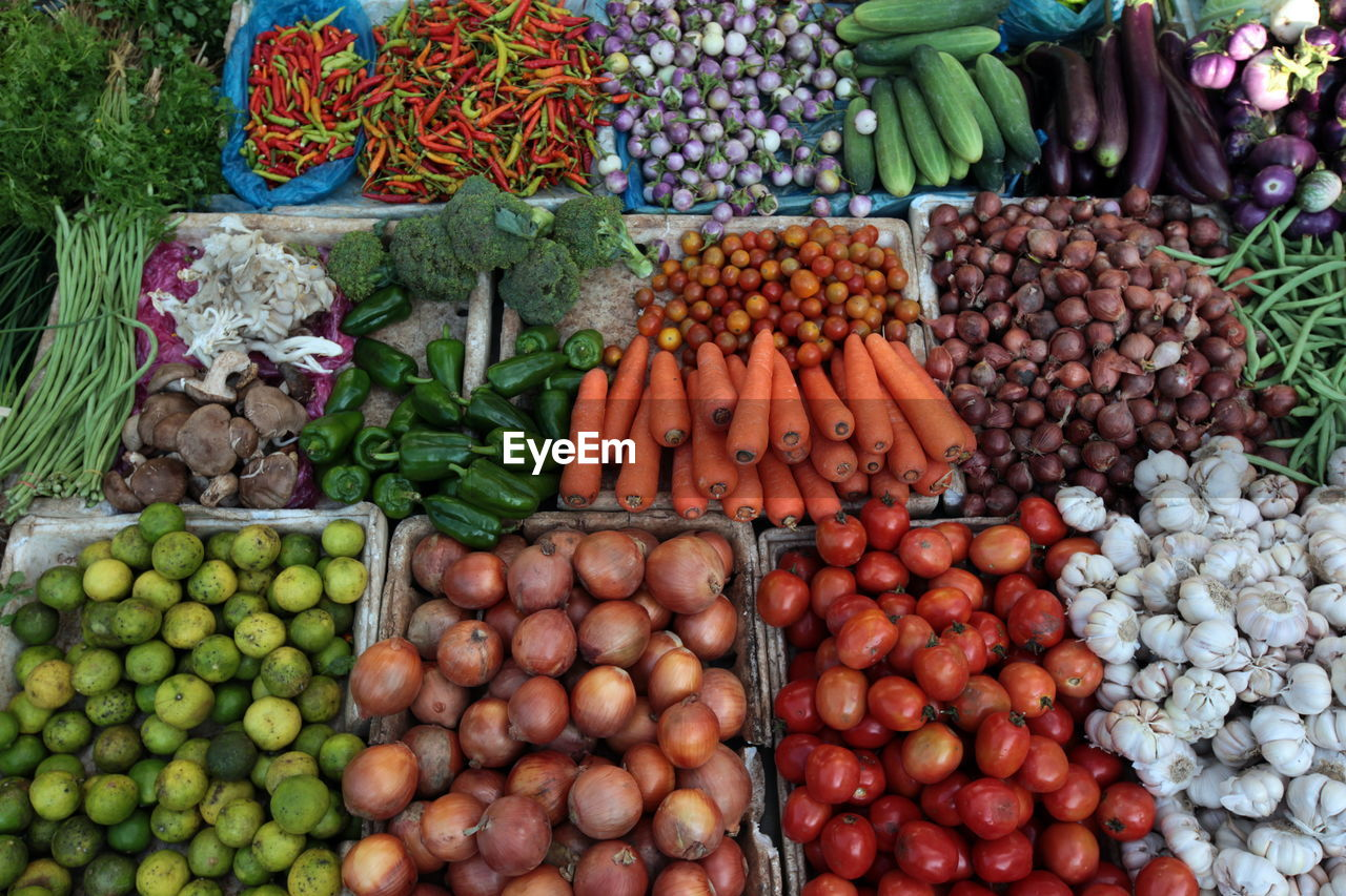 High angle view of vegetables at market stall