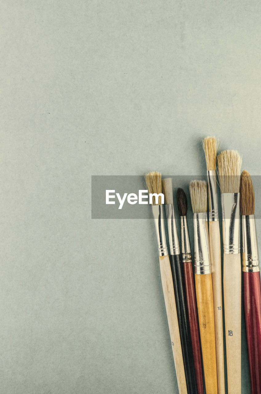 paintbrush, brush, art and craft, indoors, still life, copy space, no people, craft, variation, studio shot, choice, close-up, creativity, directly above, wood - material, colored background, white background, art and craft equipment, side by side, group of objects