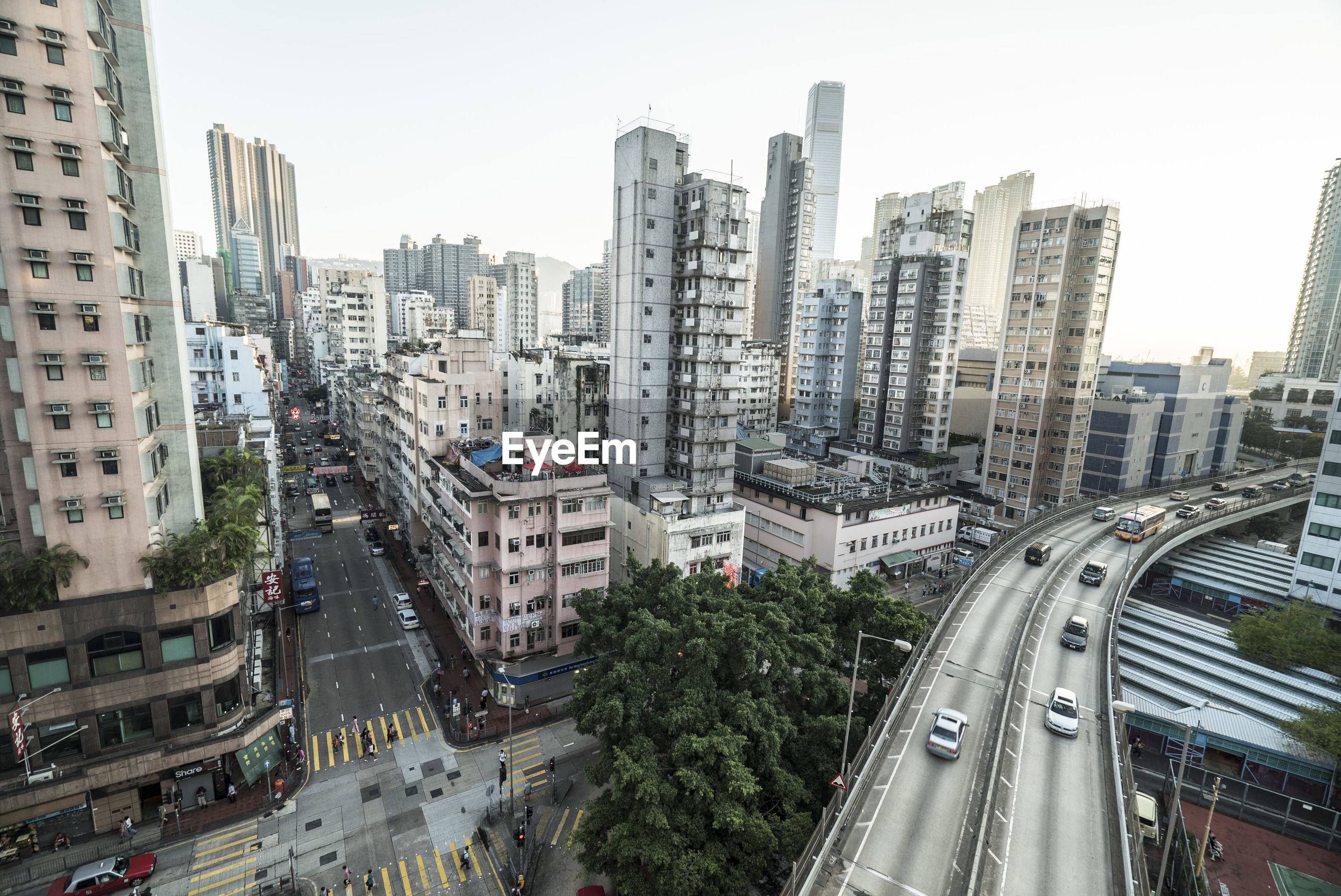 High angle view of road along cityscape