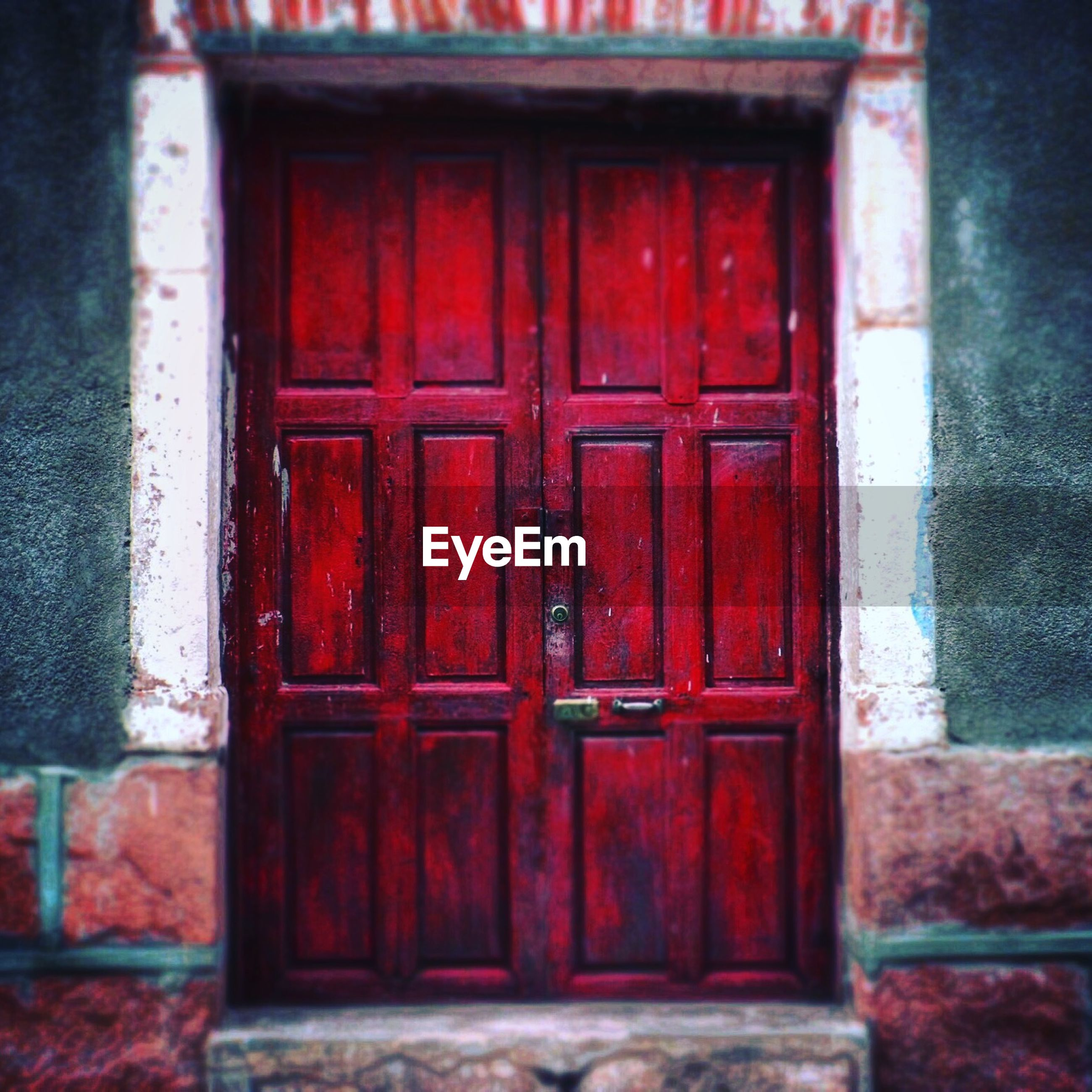 red, architecture, built structure, building exterior, door, closed, house, window, safety, protection, security, wood - material, residential structure, day, entrance, old, outdoors, wall - building feature, weathered, no people