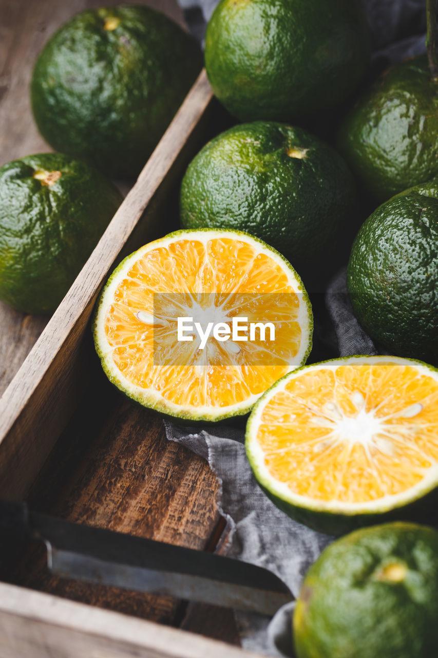 Close-up of orange fruits on table