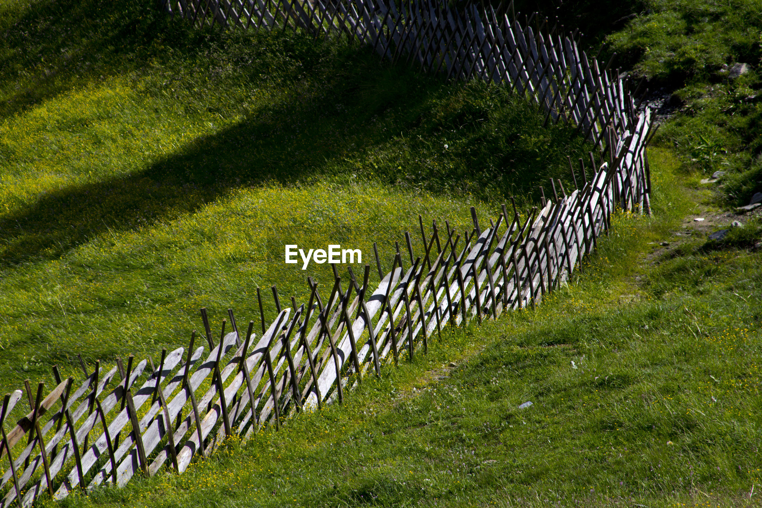 High angle view of fence on green field