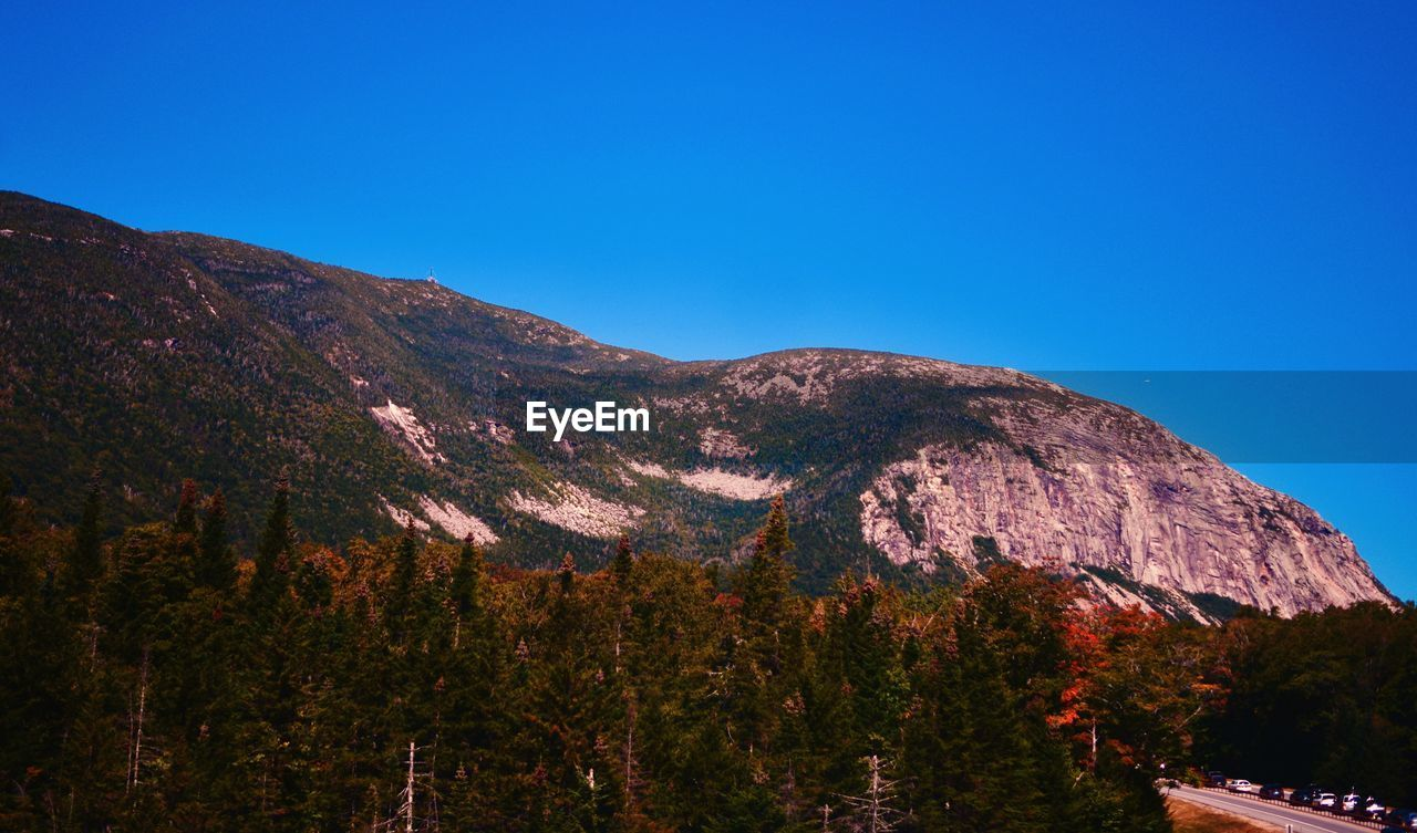 mountain, tranquility, nature, blue, beauty in nature, tranquil scene, no people, scenics, day, outdoors, clear sky, tree, sky