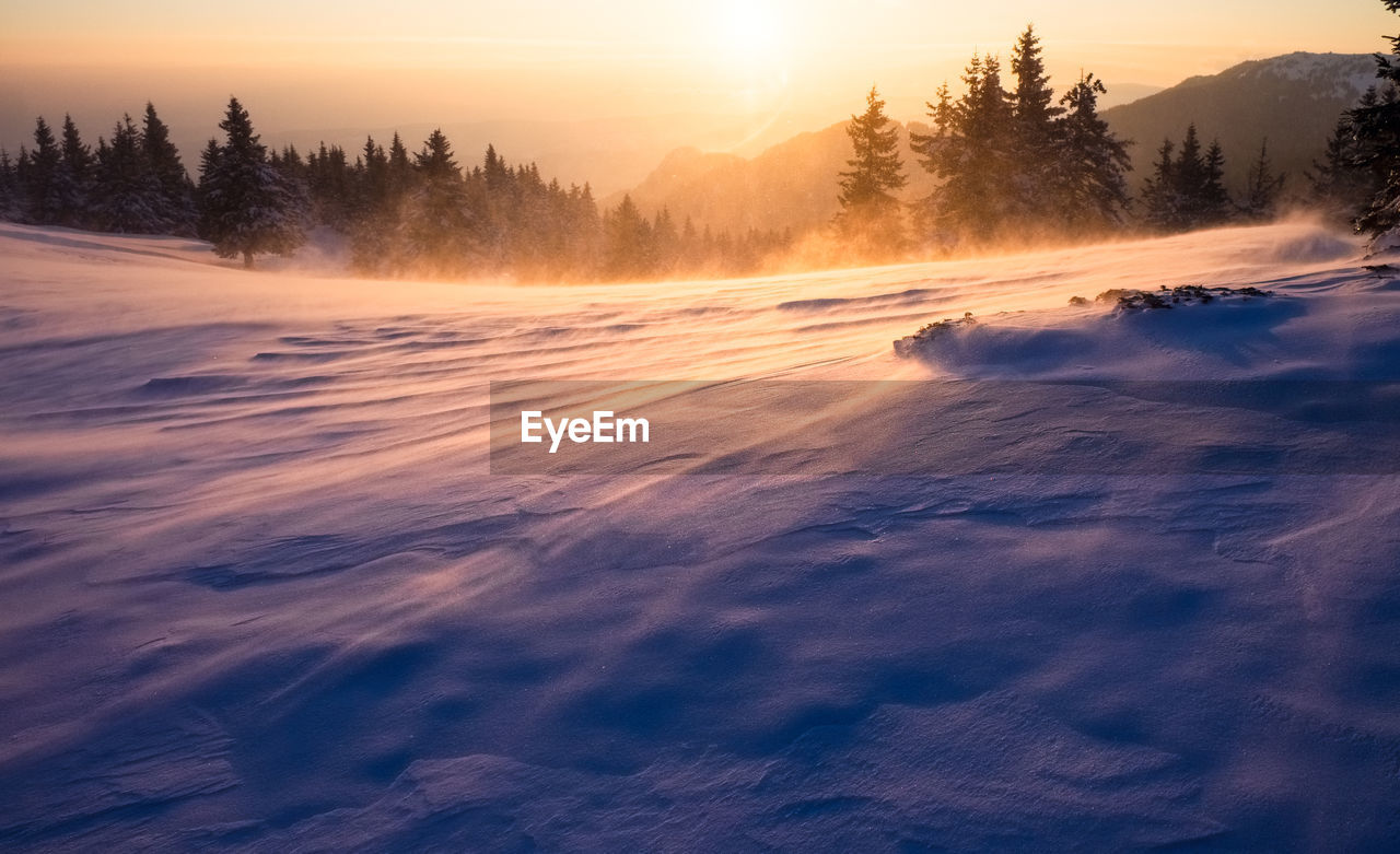 nature, sunset, scenics, beauty in nature, tranquility, tranquil scene, cold temperature, tree, outdoors, no people, winter, landscape, sky, snow, day
