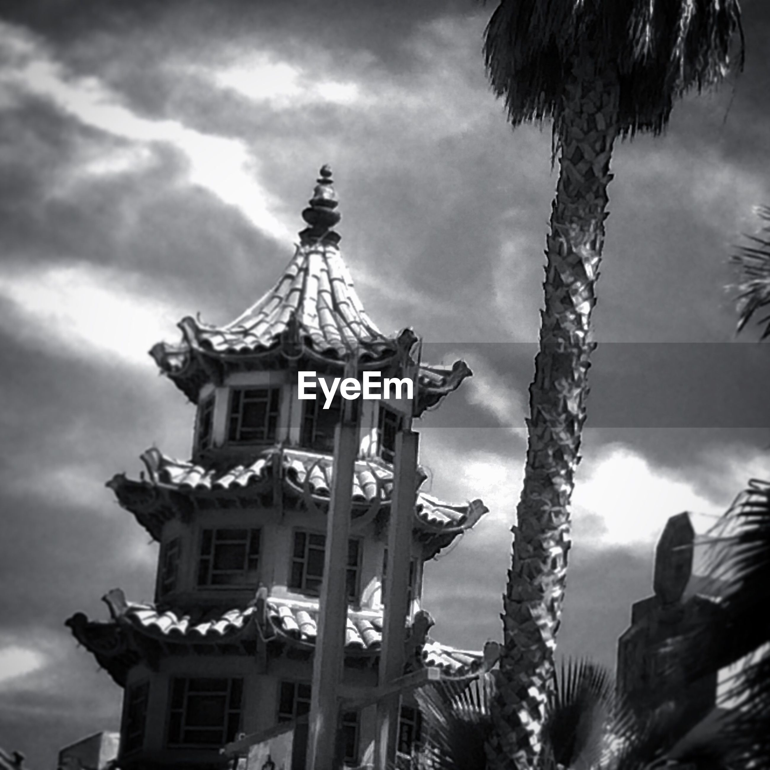 Traditional building and palm tree against sky