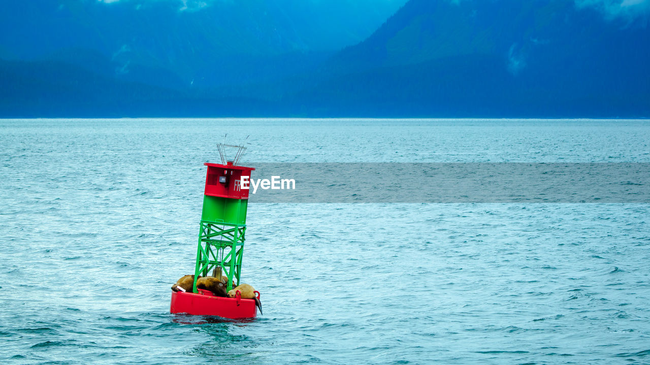 water, sea, sky, scenics - nature, safety, day, nature, waterfront, red, no people, tranquil scene, protection, horizon, guidance, security, beauty in nature, horizon over water, outdoors, blue, lighthouse, floating on water, inflatable