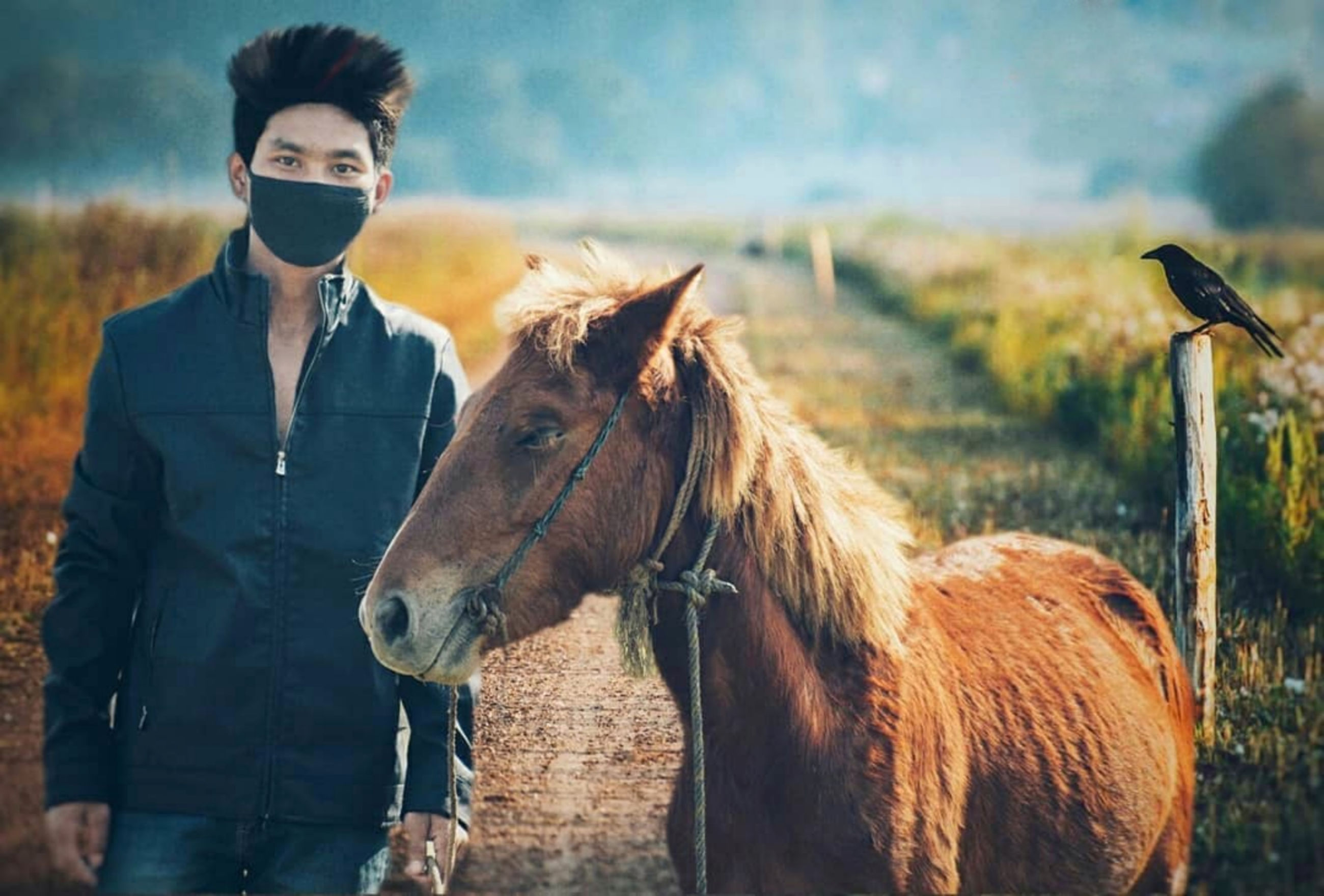 Portrait of man wearing pollution mask while standing by horse on dirt road