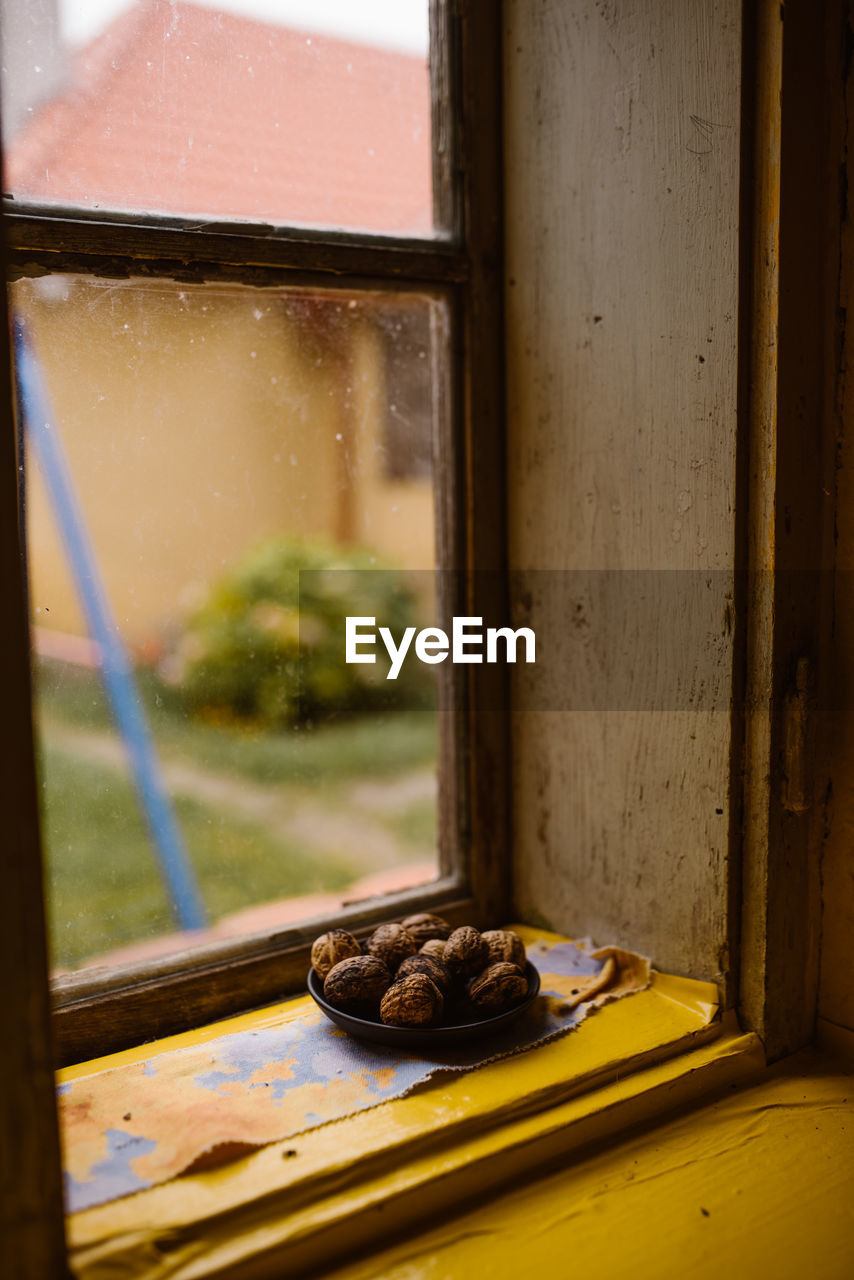 Close-up of food by window
