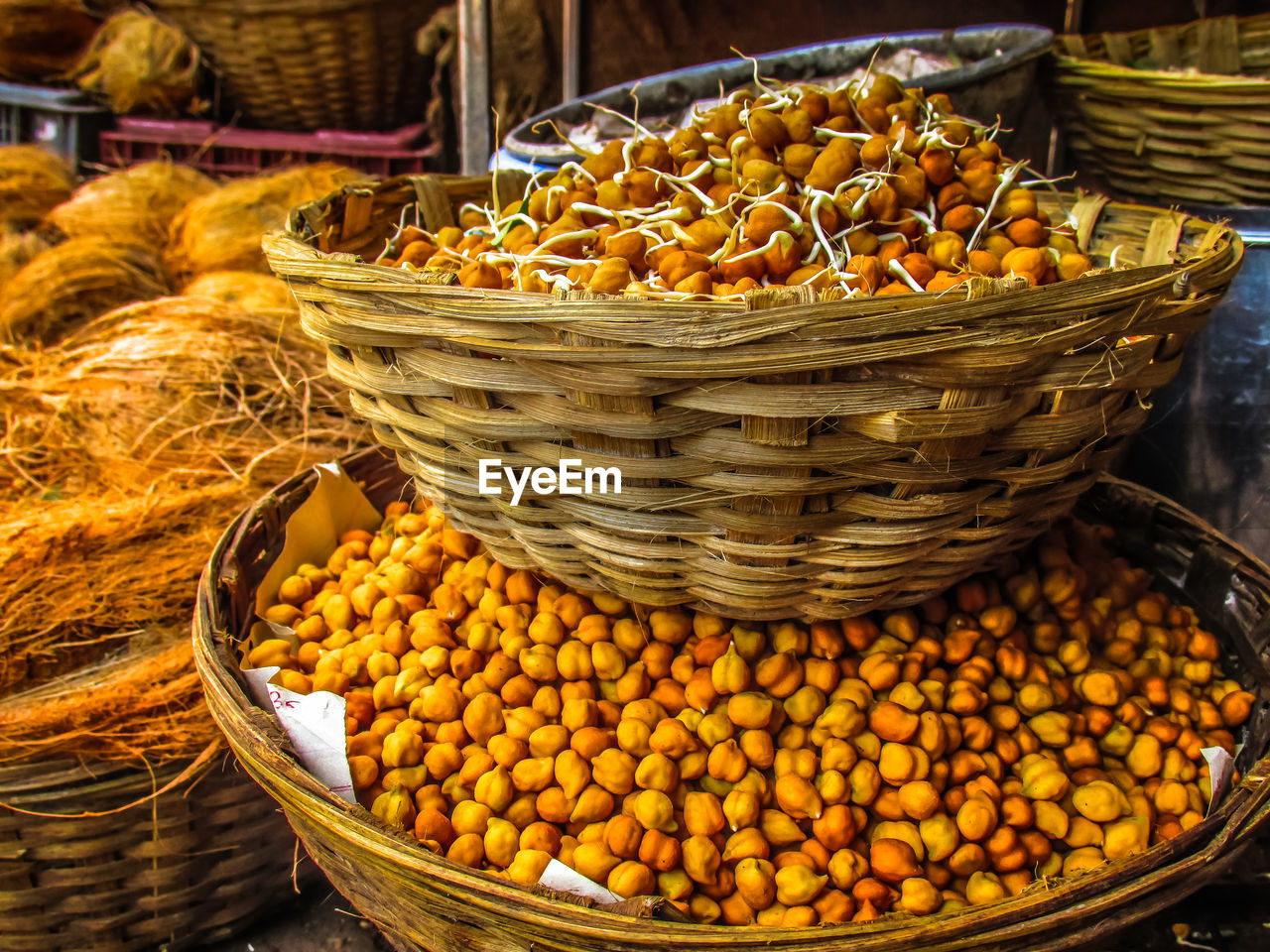 basket, market, food, yellow, food and drink, for sale, heap, retail, market stall, abundance, large group of objects, freshness, no people, outdoors, choice, healthy eating, day, close-up