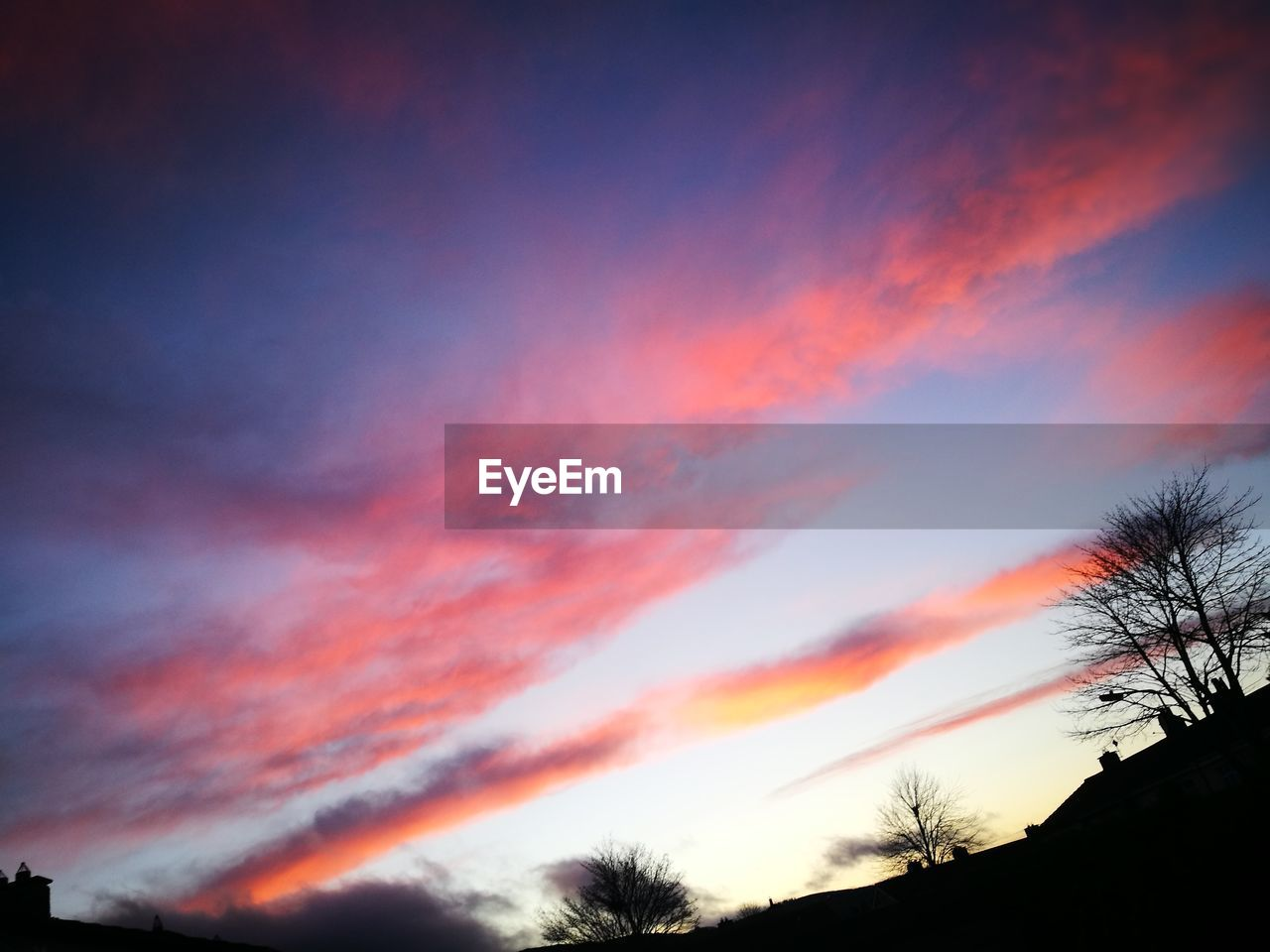 sky, cloud - sky, sunset, beauty in nature, low angle view, scenics - nature, silhouette, orange color, tree, tranquility, tranquil scene, no people, nature, plant, idyllic, outdoors, dramatic sky, dusk, red, romantic sky