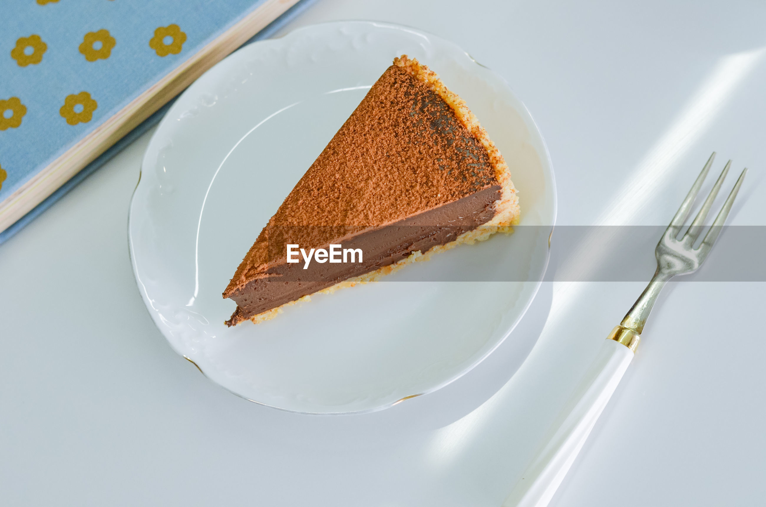 HIGH ANGLE VIEW OF CAKE SLICE ON PLATE