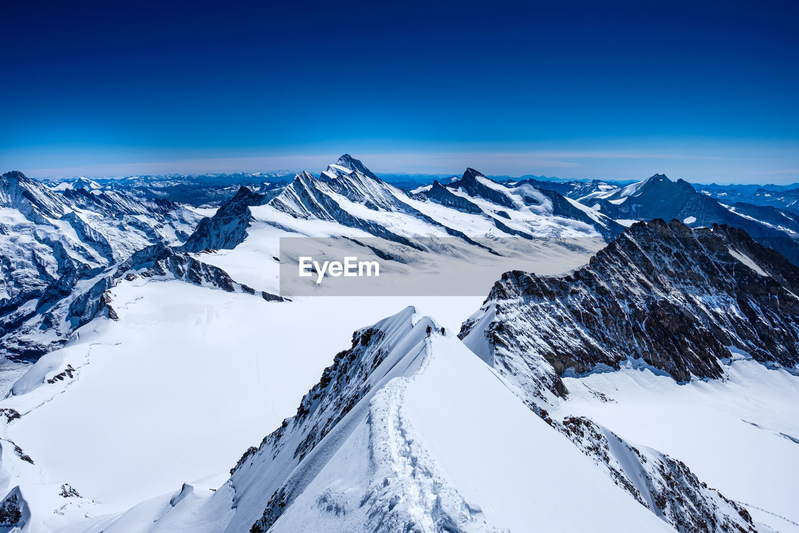 Scenic view of snowcapped mountains from top of munch
