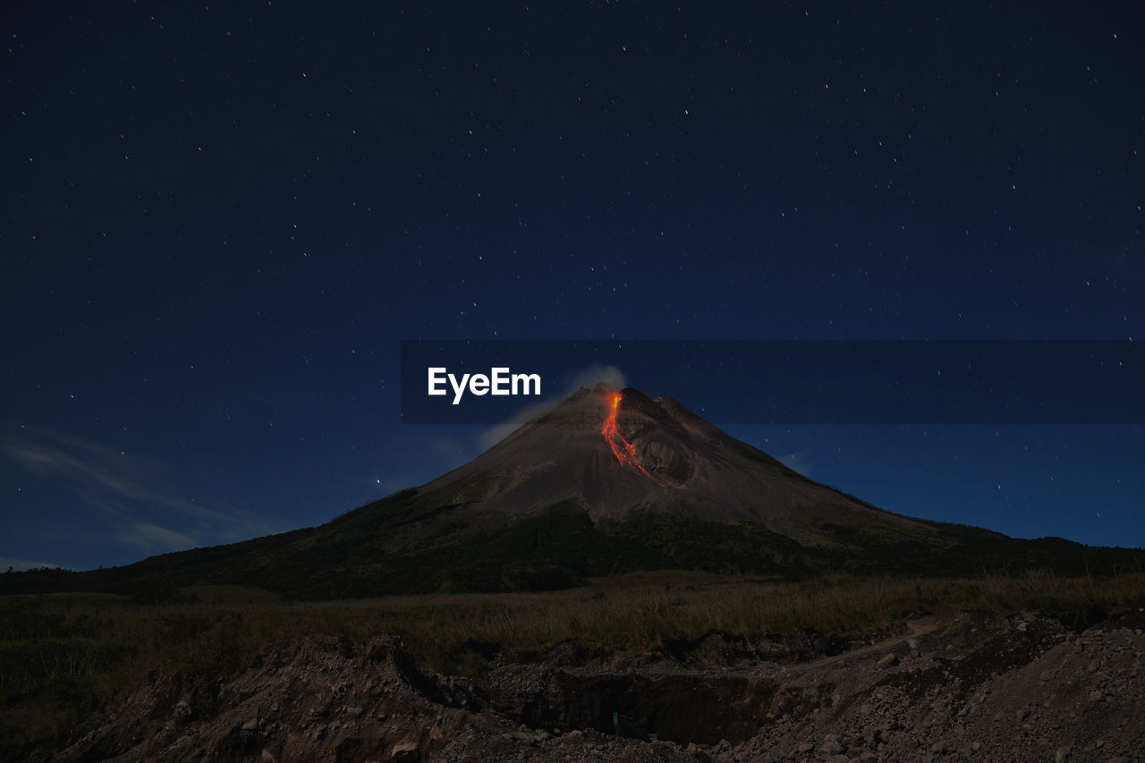 Mount merapi erupts with high intensity at night during a full moon.
