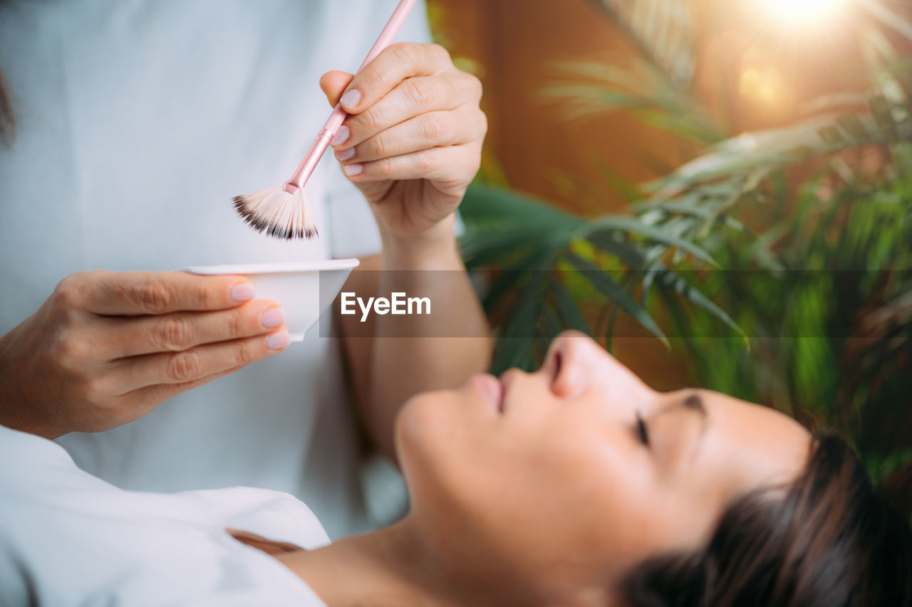 Chemical peel face skincare treatment.