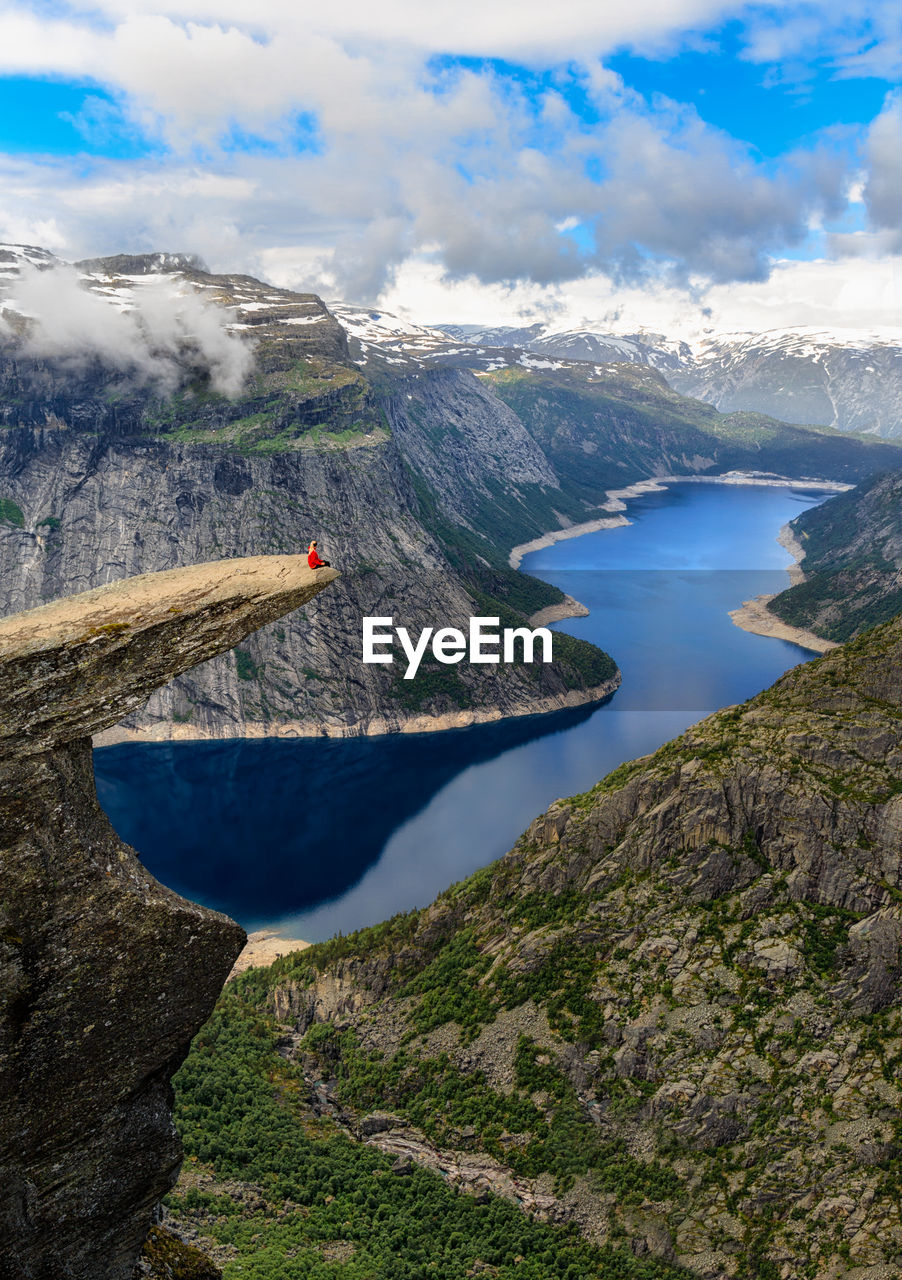 Scenic View Of Fjord Against Sky
