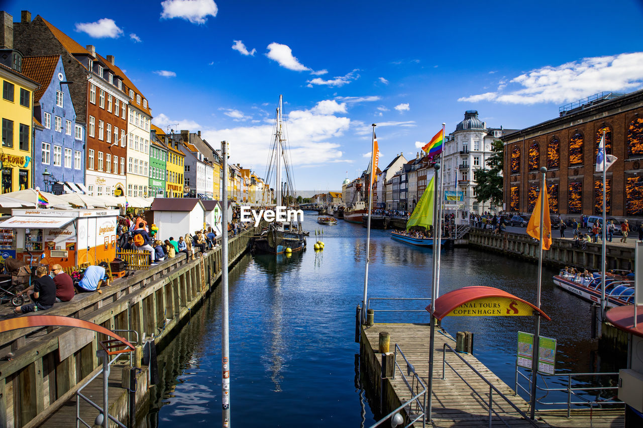 architecture, water, building exterior, built structure, transportation, nautical vessel, sky, cloud - sky, mode of transportation, city, canal, nature, building, waterfront, residential district, bridge, connection, day, travel, bridge - man made structure, outdoors