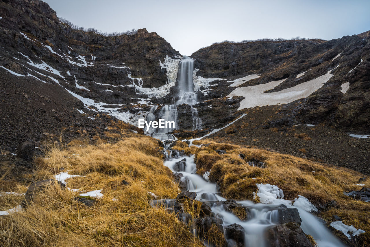SCENIC VIEW OF WATERFALL IN MOUNTAINS