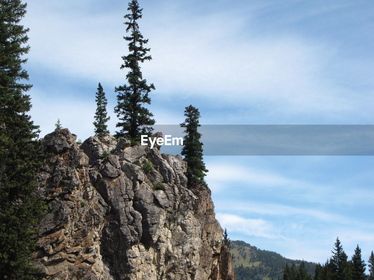 sky, beauty in nature, plant, tree, cloud - sky, rock, tranquility, mountain, tranquil scene, low angle view, nature, scenics - nature, rock - object, day, non-urban scene, solid, no people, growth, rock formation, environment, outdoors, formation, coniferous tree, pine tree, mountain peak