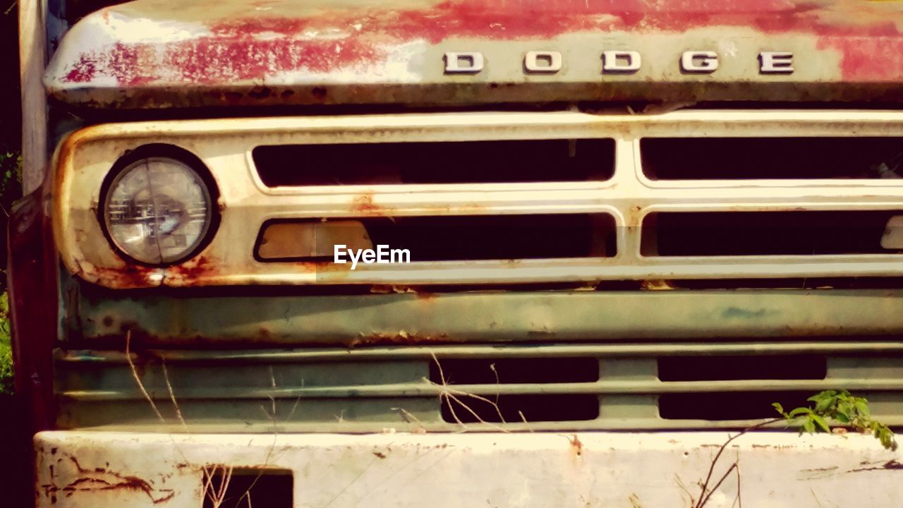 transportation, land vehicle, mode of transport, car, rusty, abandoned, no people, close-up, day, outdoors