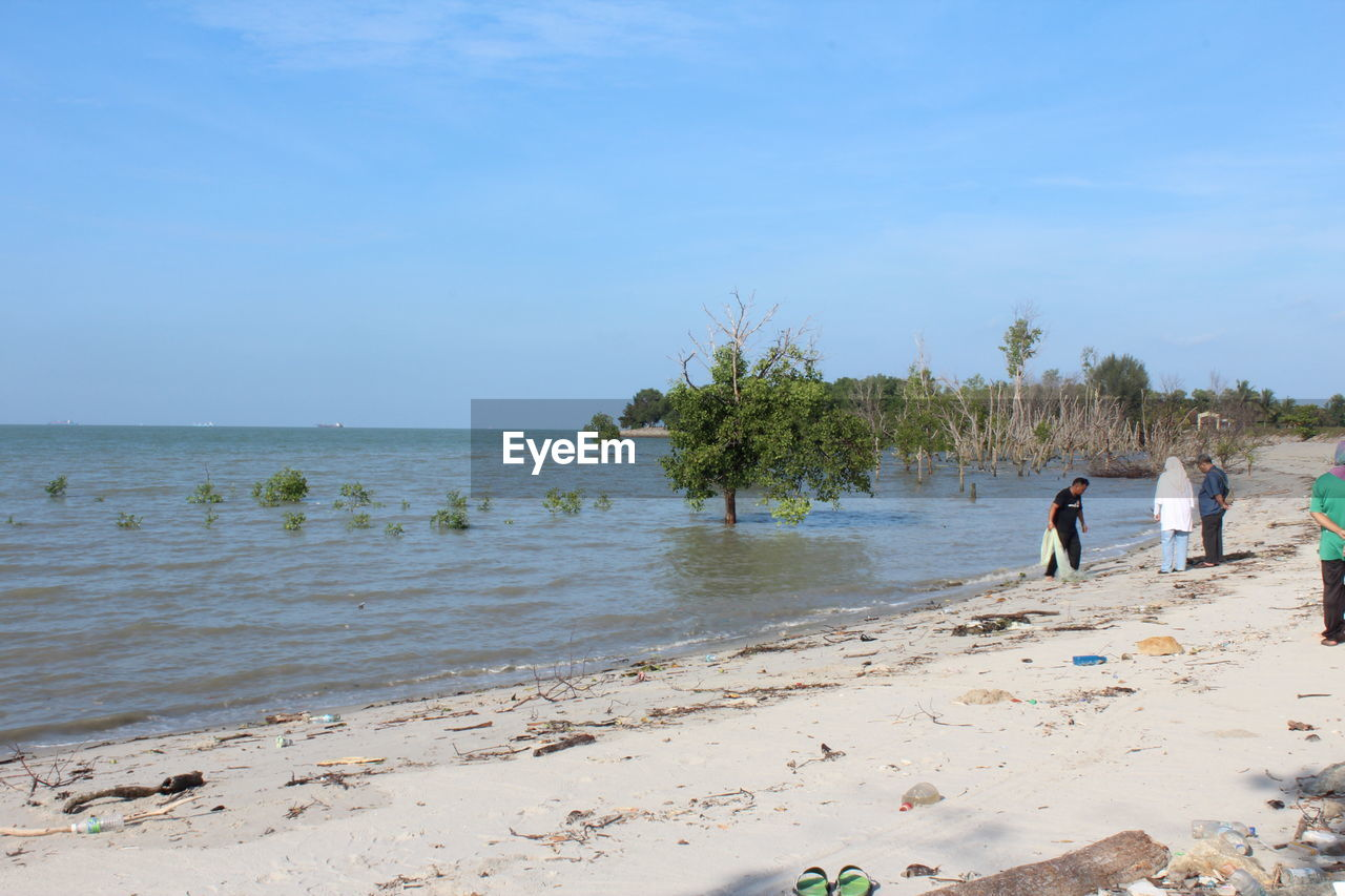 beach, sea, sand, nature, water, sky, beauty in nature, real people, outdoors, day, togetherness, scenics, horizon over water, tree