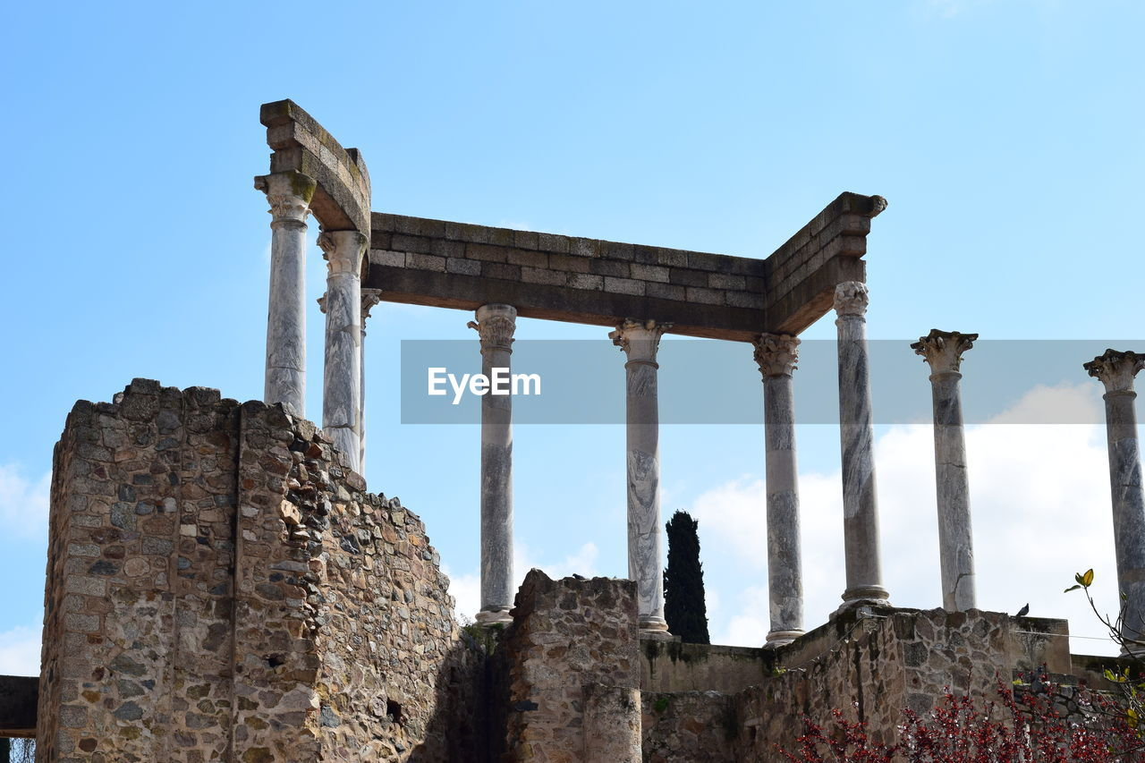 history, sky, the past, ancient, old ruin, built structure, architecture, damaged, old, architectural column, ancient civilization, low angle view, nature, travel destinations, tourism, bad condition, abandoned, day, weathered, travel, ruined, no people, deterioration, archaeology, outdoors