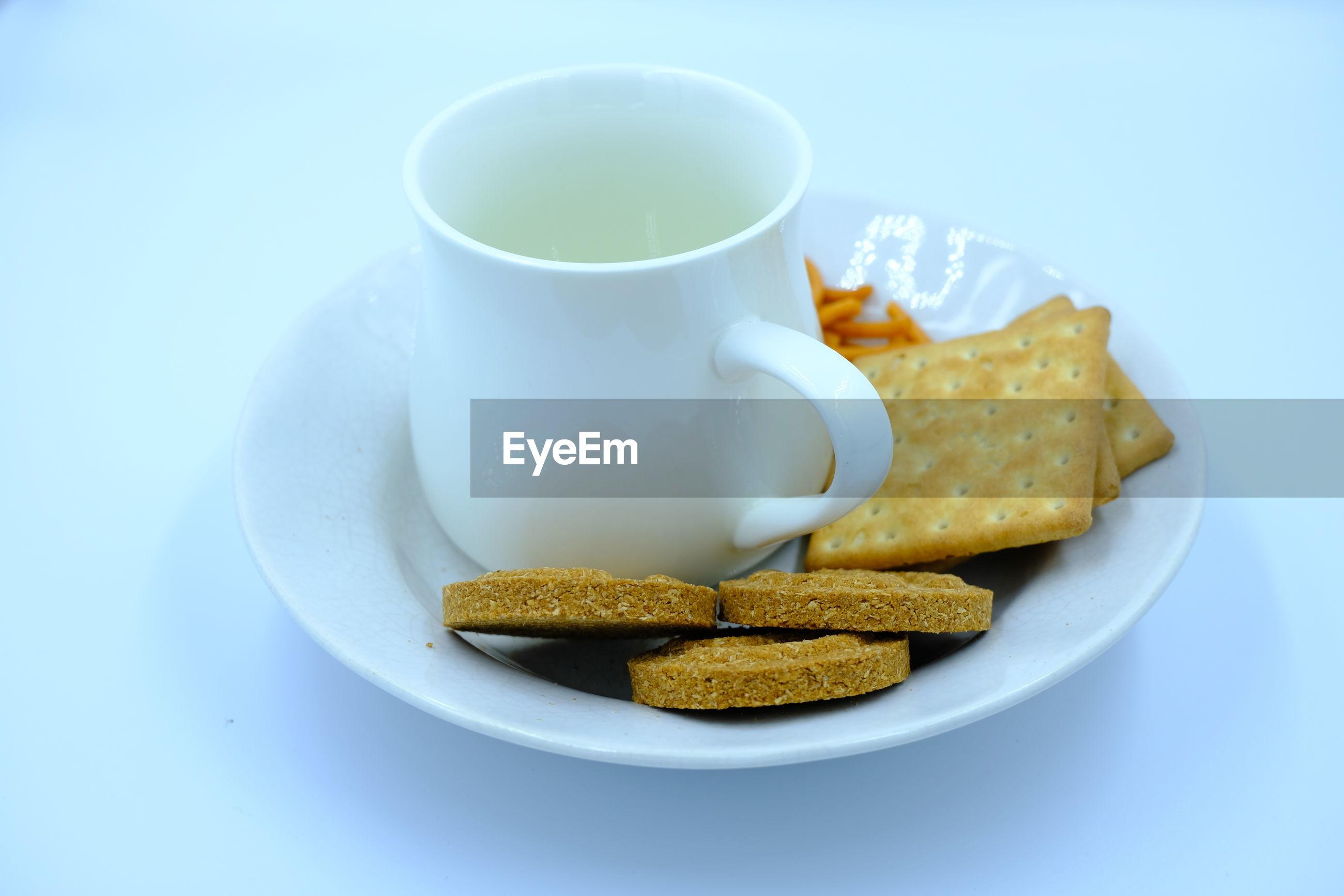 High angle view of food and coffee on table
