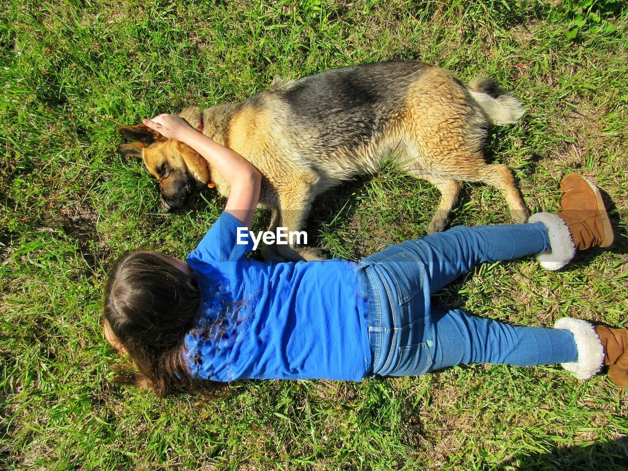 High angle view of girl and dog lying on grass