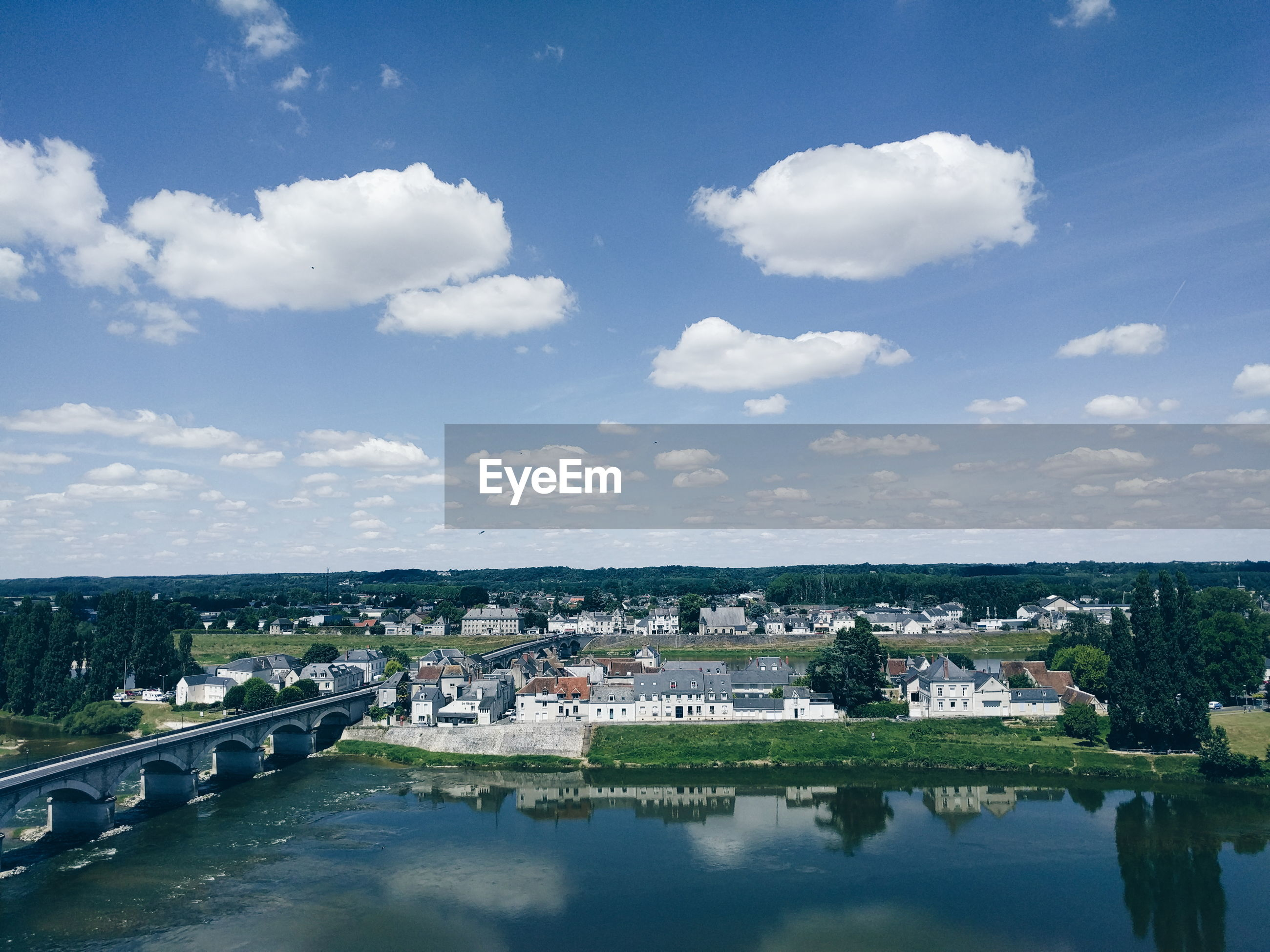 High angle view of bridge over loire river