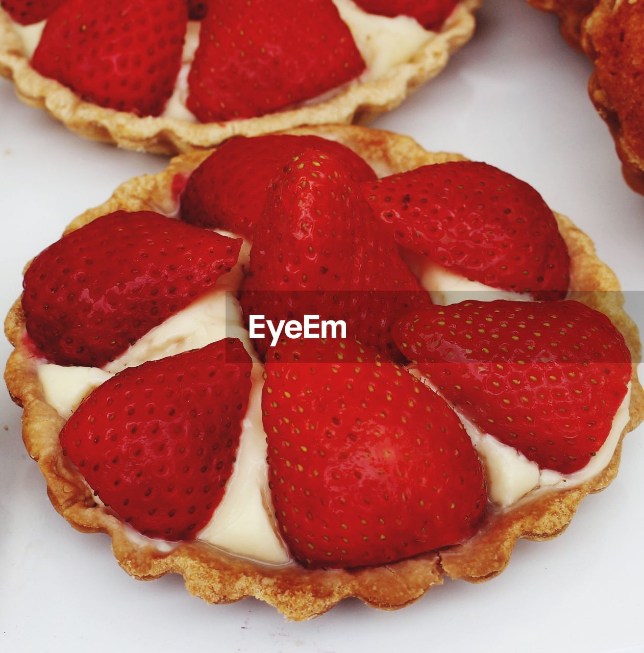 Close-Up Of Strawberries Tart On Table