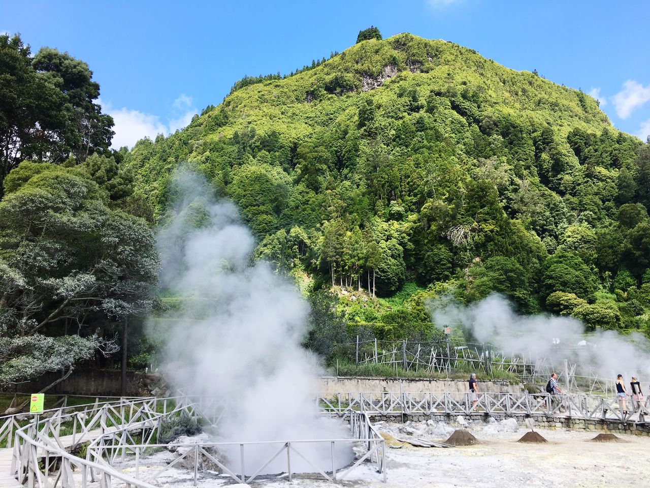 smoke - physical structure, tree, steam, plant, nature, day, hot spring, group of people, heat - temperature, sky, large group of people, crowd, real people, green color, beauty in nature, smoke, outdoors, environment, water, built structure, power in nature