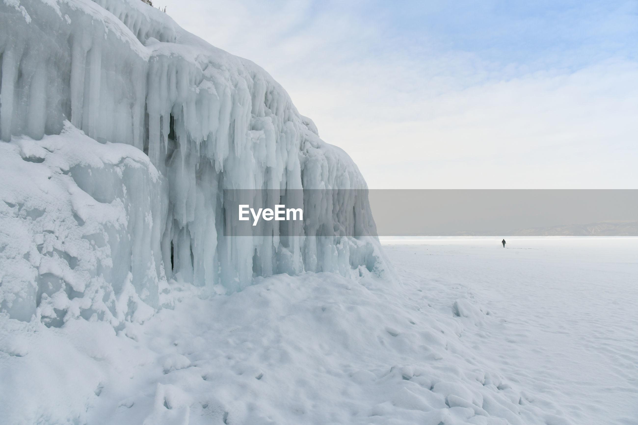 SNOW ON LANDSCAPE AGAINST SKY