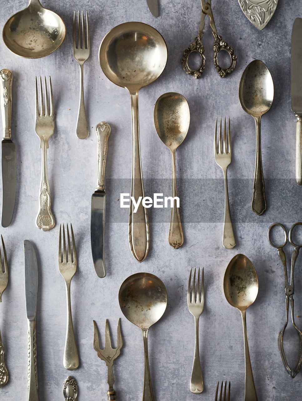 Directly above shot of eating utensils