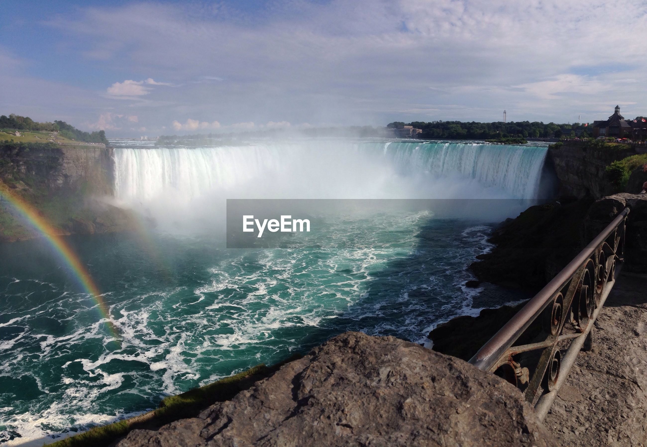 Scenic view of niagara falls against sky