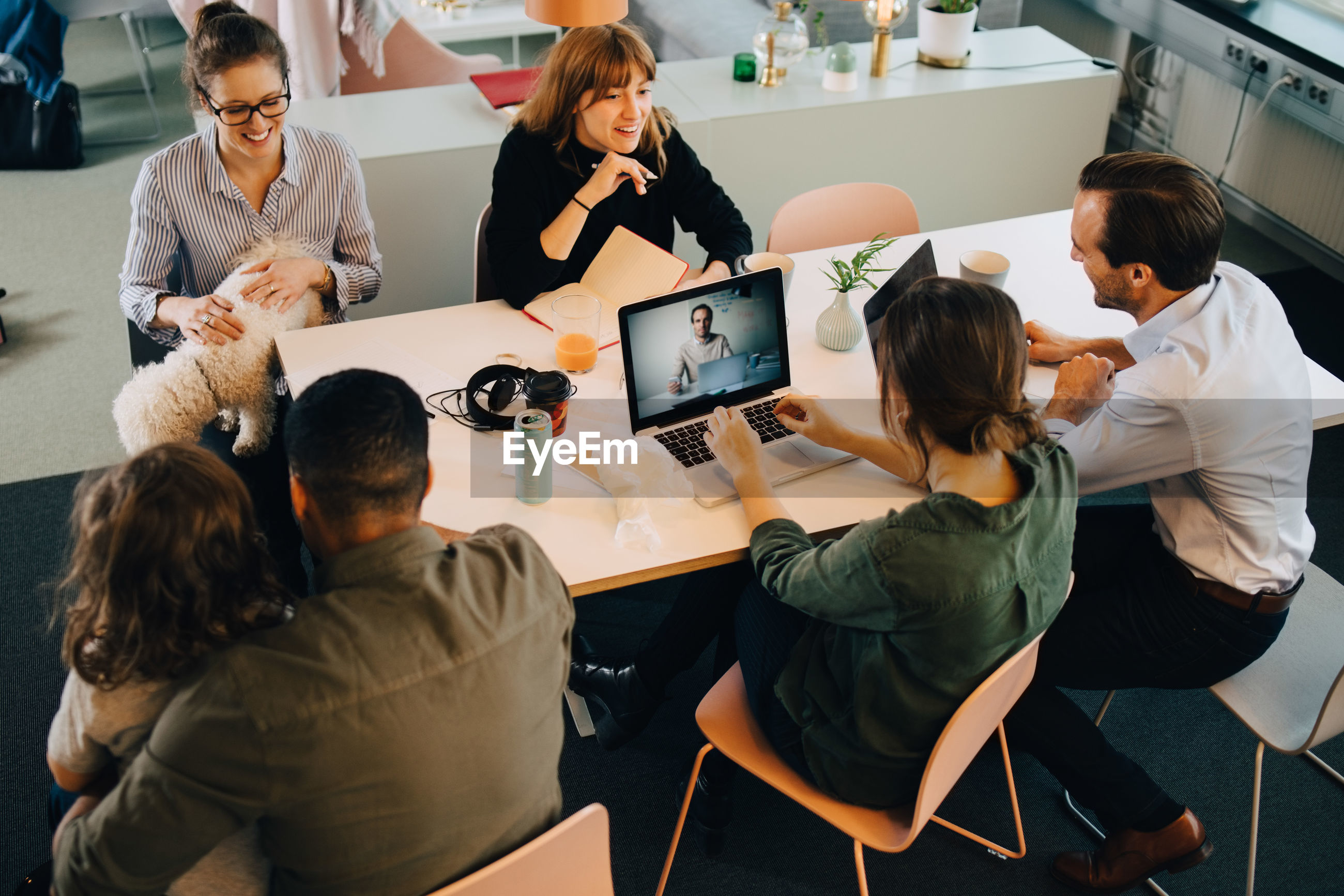 High angle view of business people discussing while sitting with boy and dog at desk in creative office
