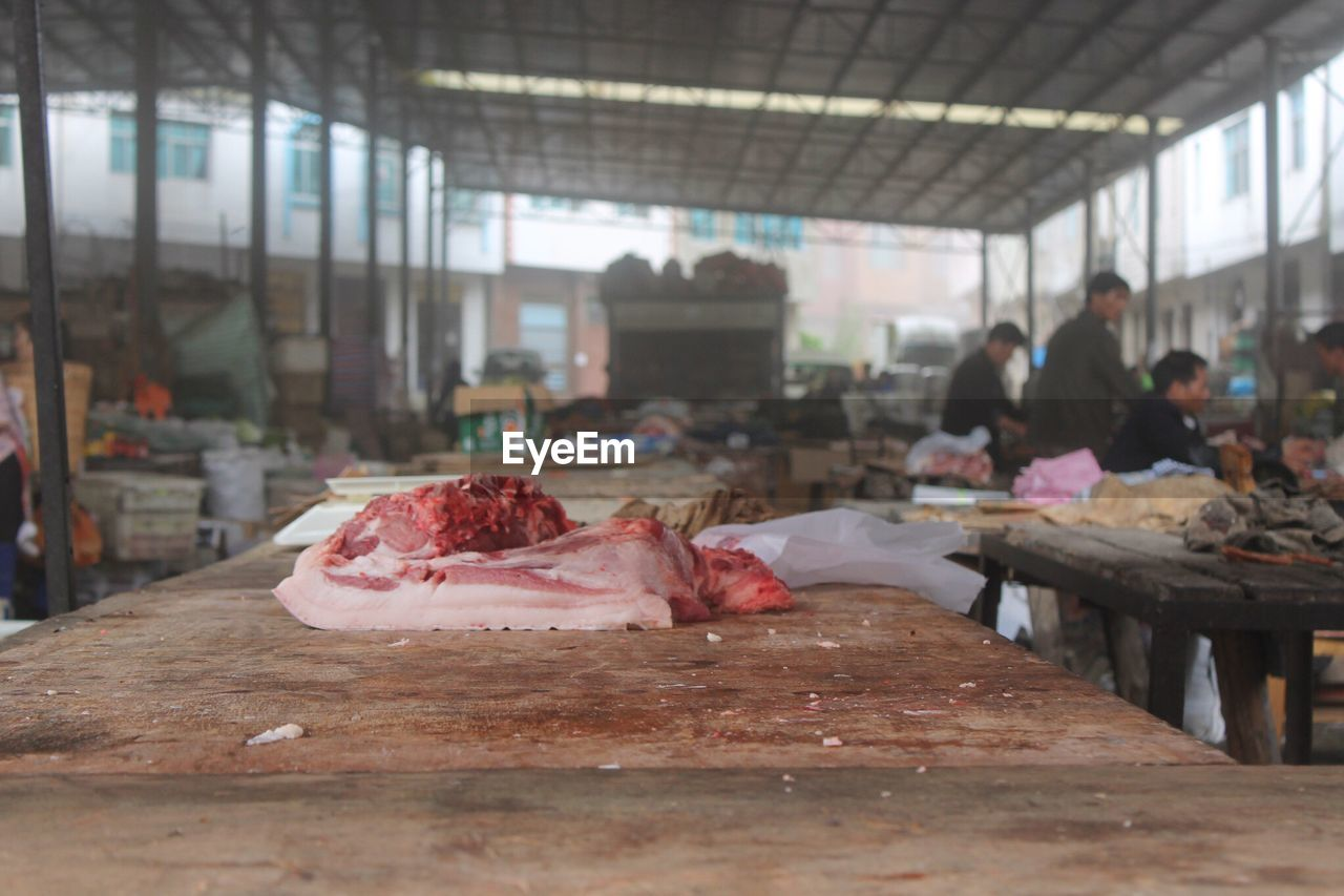 Meat On Table At Market For Sale